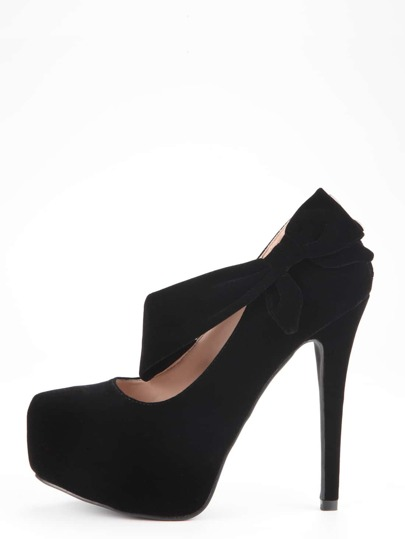 Black Bow Tie Pointed Toe Platform Pumps
