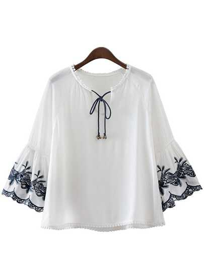 White Bell Sleeve Embroidery Tie Neck Blouse