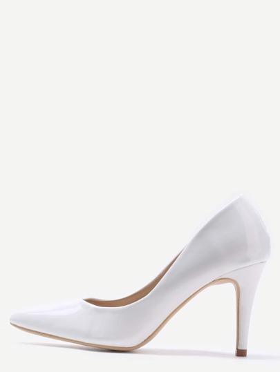 Zapatos con tacón alto de cuero sintética puntos - blanco