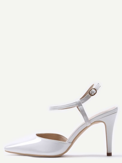 White Pointed Toe Slingback Ankle Strap Pumps