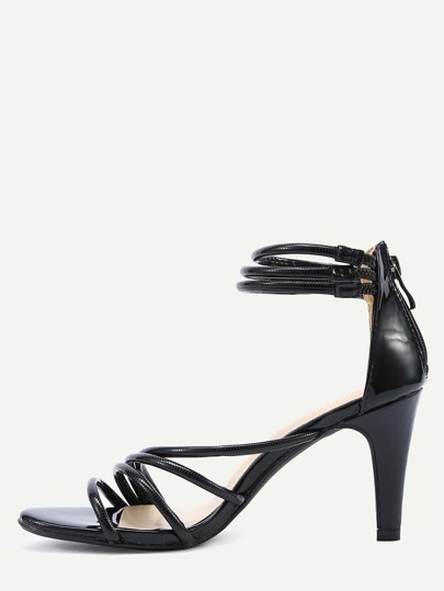 Strappy Ankle Cuff High Heel Sandals - Black