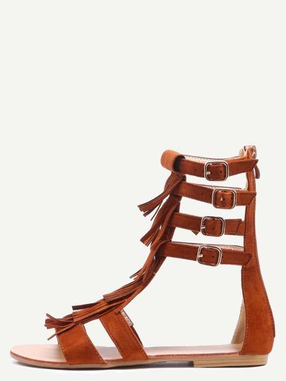 Light Tan Faux Suede Fringe Gladiator Sandals