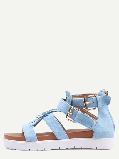 Light Blue Faux Suede Caged Flatform Sandals