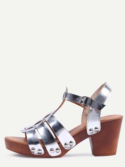 Sliver Faux Leather Caged Wooden Heel Sandals