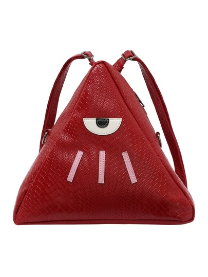 Faux Embossed Leather Patched Triangle Backpack