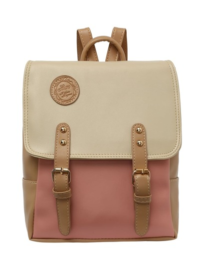 Color Block Buckle Flap Backpack