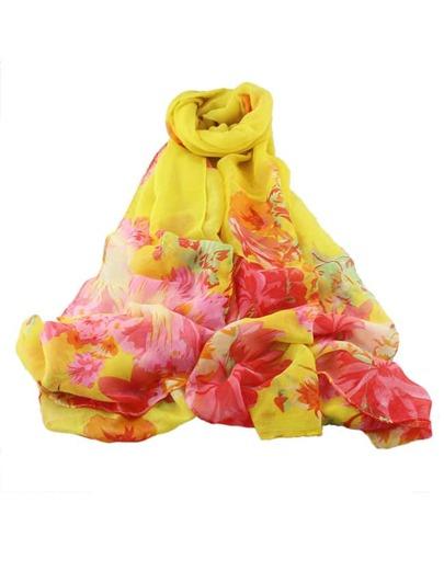 Écharpe imprimé fleuri tendance - jaune