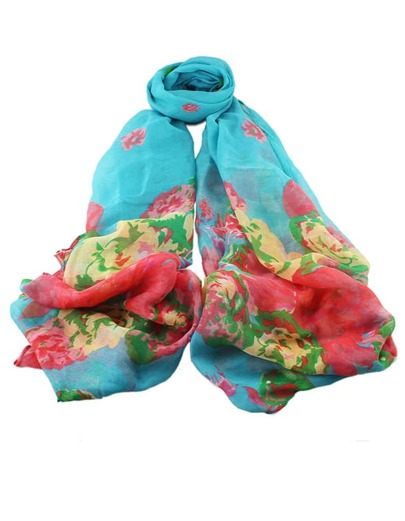 écharpe motif fleuri -bleu clair