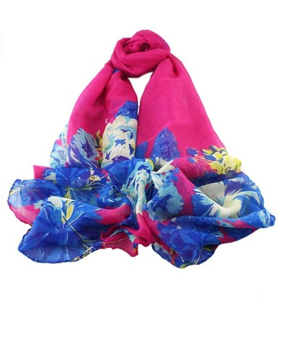 Hotpink Voile Flower Printed Scarf