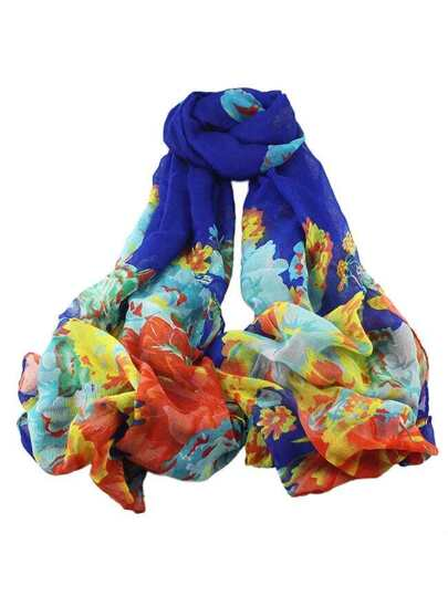 Drakblue Voile Flower Printed Scarf