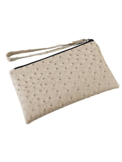 Khaki Simple Design Pu Clutch Bag