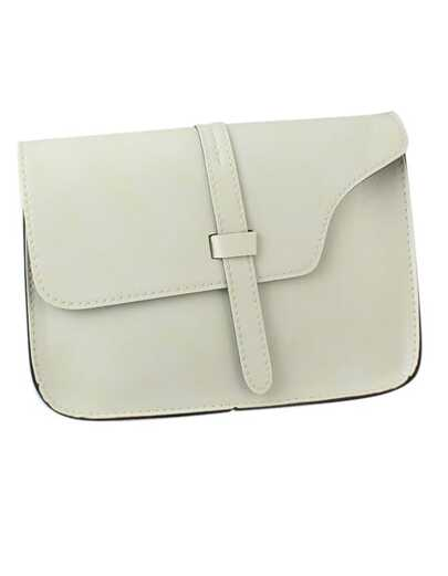 White Pu Leather Straps Shoulder Bag