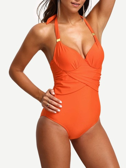 Halter Draped One-Piece Swimwear