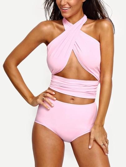 Pink Cross Wrap Halter High Waist Bikini Set