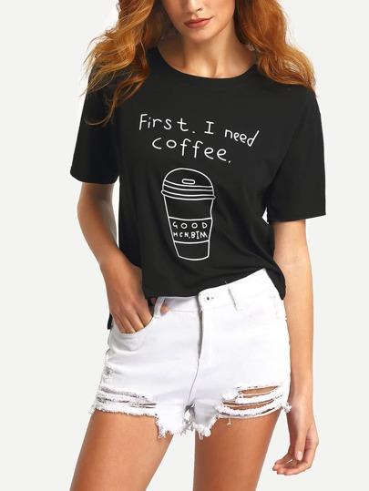 T-shirt alto basso stampa caffè cup con maniche corte - nero