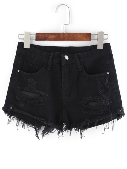 short en denims -Noir