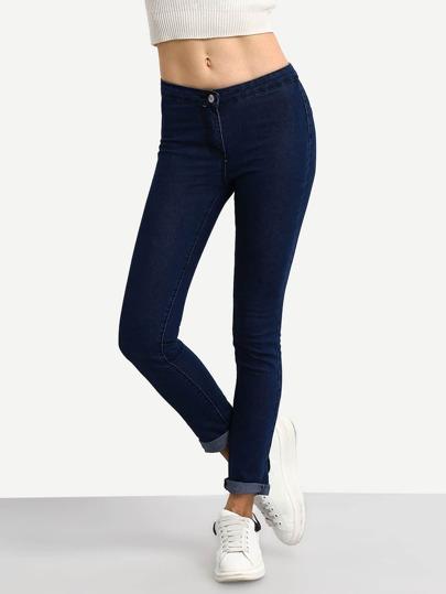 Dark Bule Rolled Hem Skinny Jeans