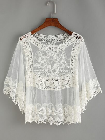 Crochet Inset Mesh Cover-UP Blouse