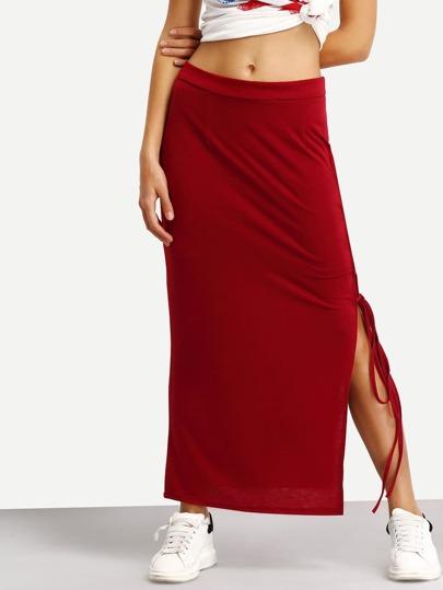 Side Slit Lace-Up Long Jersey Skirt