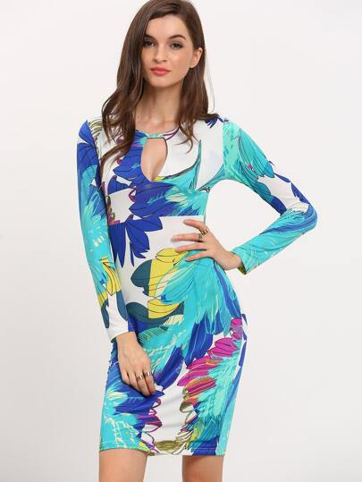 Florals Cut Out Bodycon Dress