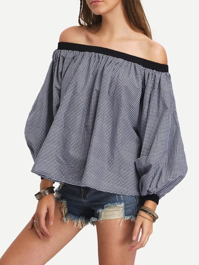 Black Lantern Sleeve Off The Shoulder Blouse