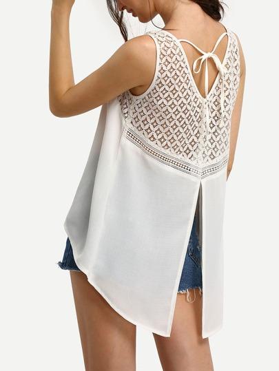 White Crochet Panel Dip Hem Split Back Tank Top