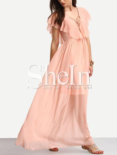 Pink Lace-up Ruffle V Back Chiffon Maxi Dress
