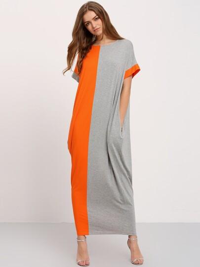 فستان ماكسي رمادي برتقالي تداخل جيوب