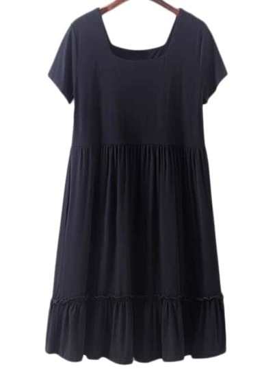 Black Square Collar Ruffle Hem Pleated Casual Dress