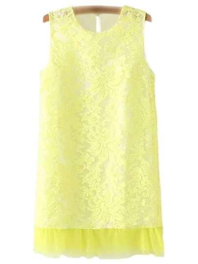 Yellow Sleeveless Keyhole Back Lace Dress