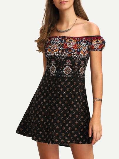 Black Off The Shoulder Vintage Print Dress