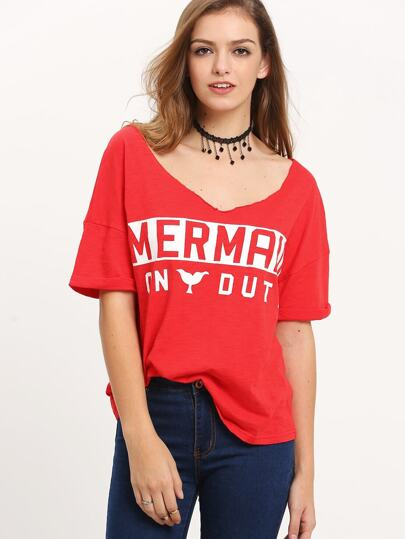 Red Short Sleeve Letters Print T-shirt