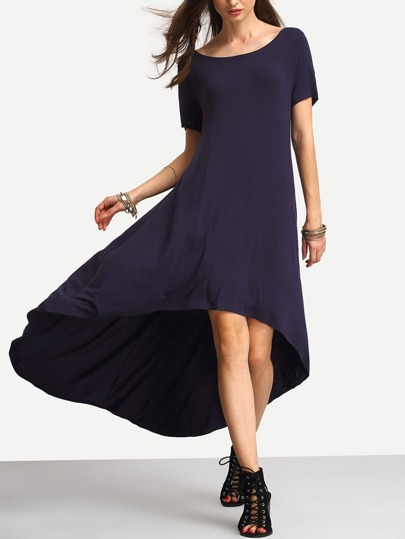 Deep Blue Dip Hem Casual Midi Dress