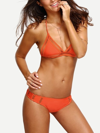 Halter Ladder-Cutout Bikini Set - Orange