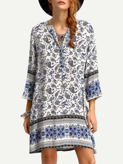 V-Neck Paisley Print Tunic Dress
