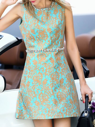 Apricot Disc Flowers Beading Dress