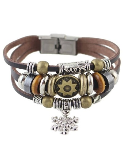 Coffee Multilayers Pu Wrap Bracelet