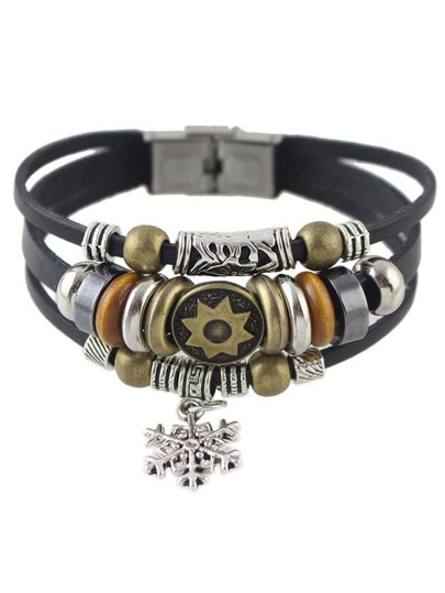 Black Multilayers PU Wrap Bracelet