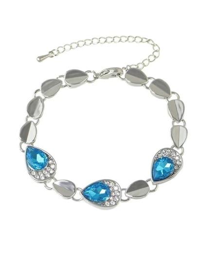 Elegant Blue Rhinestone Chain Bracelet