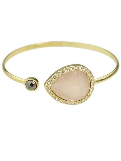 Pink Single Gemstone Thin Cuff Bracelet
