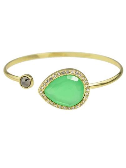 Green Single Gemstone Thin Cuff Bracelet
