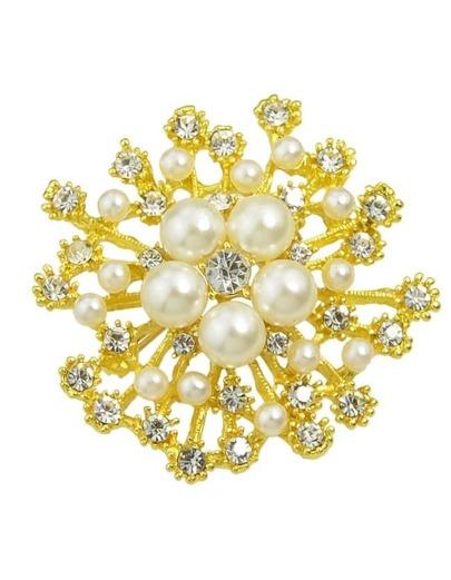 Gold Trendy Pearl Flower Brooch