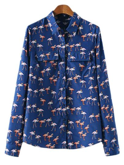 Multicolor Buttons Front Pockets Printed Blouse