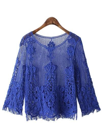 Blue Long Sleeve Fringe Lace Blouse
