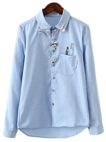Blue Buttons Bow Pocket Front Print Blouse