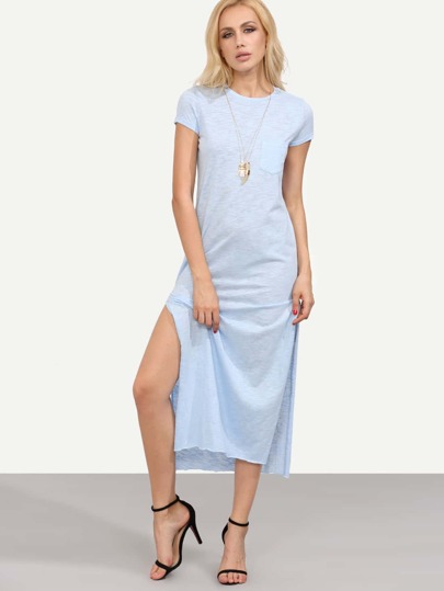 Blue Short Sleeve Pocket Split Side Maxi Dress