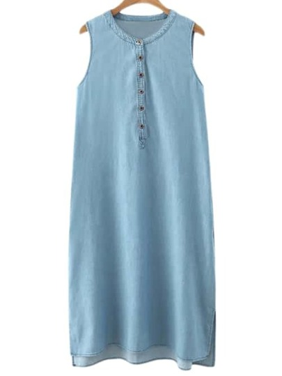 Blue Buttons Front Split Side Denim Midi Dress