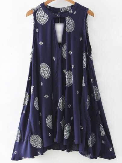 Vestito smanicato asimmetrico stampa vintage con tasche - blu marine