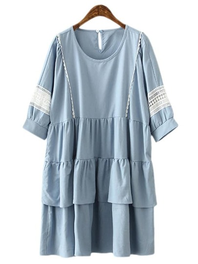 Blue Keyhole Back Ruffle Crochet Splicing Doll Dress