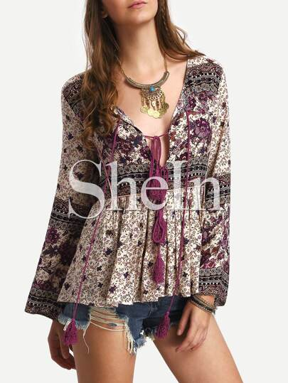 Multicolor Long Sleeve Vintage Print Tassel Blouse
